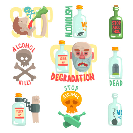 Gevaren en risico van alcohol set, alcoholisme vector Illustraties Stock Illustratie