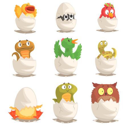Vogels en reptielen broeden uit eieren set, ongeboren dieren vector Illustraties Stock Illustratie