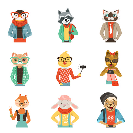 Cute humanized animals in modern and fashionable clothes set of vector Illustrations Illustration
