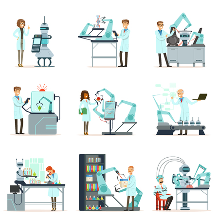 New technologies, artificial intelligence set, scientists working in the laboratory with robotic machines vector Illustrations Illustration