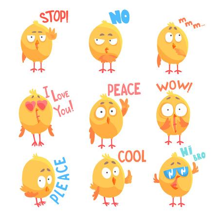 다른 감정과 문구와 함께 귀여운 만화 만화 닭 문자 벡터 일러스트 세트