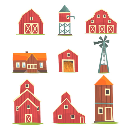Farm buildings and constructions set, countryside life and agriculture industry objects vector Illustrations