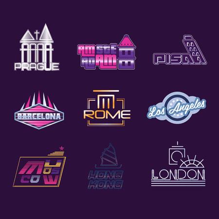 Wereldsteden etiketten set, grafische sjablonen vector illustraties