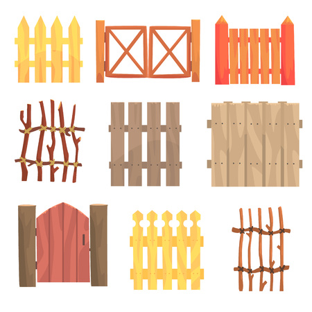 Different garden wooden fences and gates set, rural hedges vector Illustrations isolated on white background Çizim