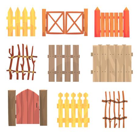 Verschillende tuin houten omheiningen en poorten instellen, landelijke hagen vector illustraties geïsoleerd op een witte achtergrond Stock Illustratie