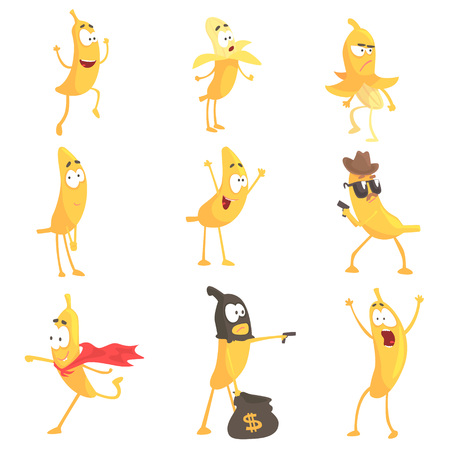 Cute cartoon humanized banana emoji in different situations set of vector Illustrations