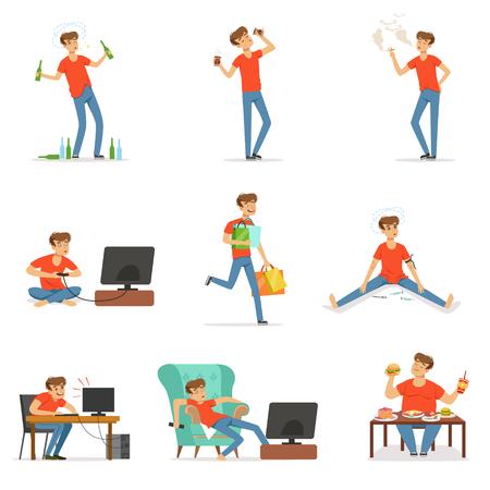 Schlechte Gewohnheiten eingestellt, Alkoholismus, Drogenabhängigkeit, Rauchen, Abhängigkeit von Computer- und Videospielen, Einkaufen, Völlerei mit Fettleibigkeit Vektor Illustrationen Standard-Bild - 82189941