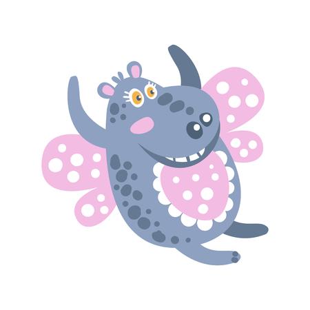 Lindo dibujos animados sonriendo Hippo carácter volando como un vector de mariposa Ilustración Foto de archivo - 82277338