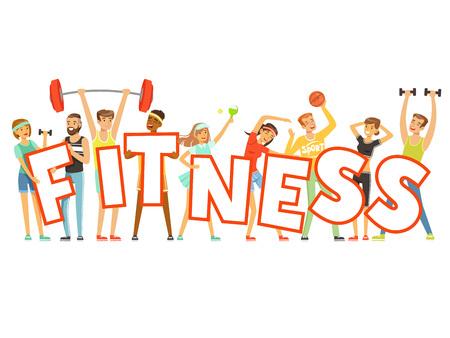 Groupe de personnes souriantes en uniforme de sport tenant le mot Fitness cartoon vecteur coloré Illustration Vecteurs