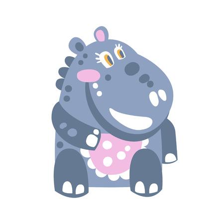 Cute cartoon Hippo character sitting on the floor vector Illustration Illustration
