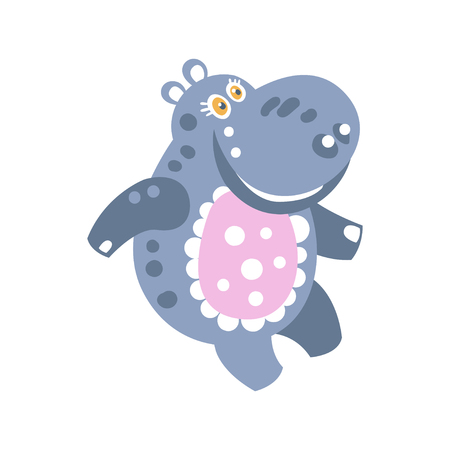 Cute cartoon smiling Hippo character vector Illustration