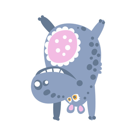 Cute cartoon Hippo character standing upside down vector Illustration