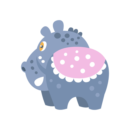 Cute cartoon Hippo character, back view vector Illustration