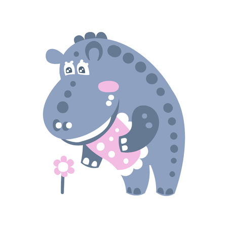 Cute cartoon Hippo character standing and looking at flower vector Illustration