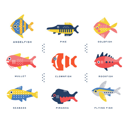 Collection of sea and ocean fish and lettering name in English vector Illustrations Illustration