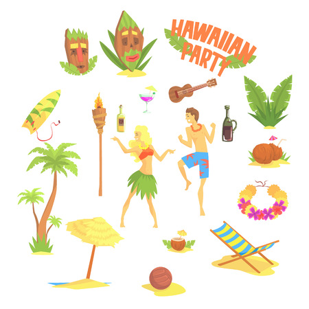 Hawaiian party set, Hawaii symbols vector Illustrations