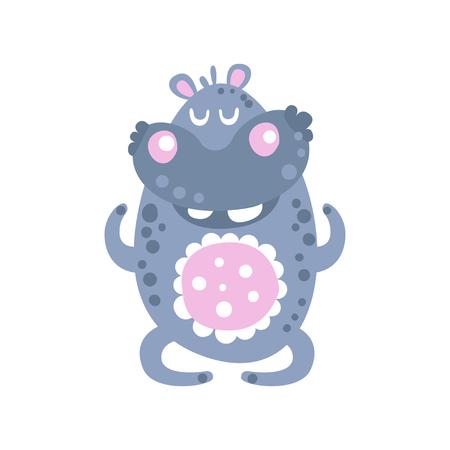 Cute cartoon Hippo character meditating vector Illustration