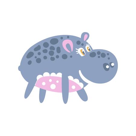 Cute smiling cartoon Hippo character posing vector Illustration Illustration