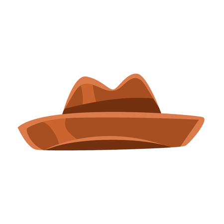 Brown vintage fedora hat vector Illustration