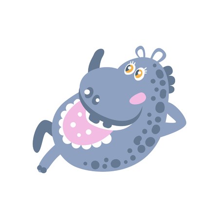 Cute cartoon Hippo character lying vector Illustration Illustration