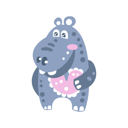 Cute smiling cartoon Hippo character vector Illustration
