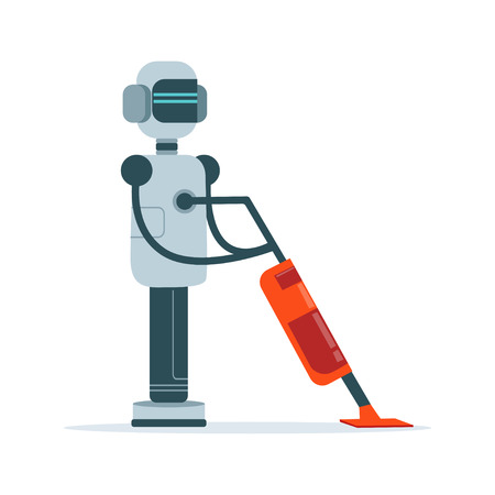 Housemaid android character with vacuum cleaner vector Illustration
