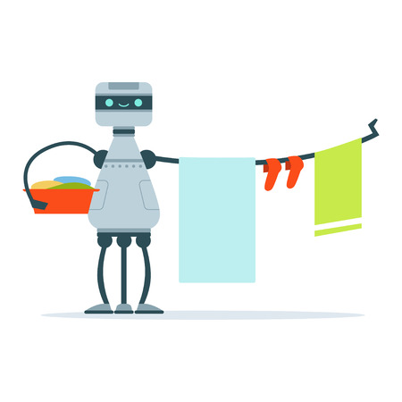 Housemaid android character hanging out laundry clothes vector Illustration
