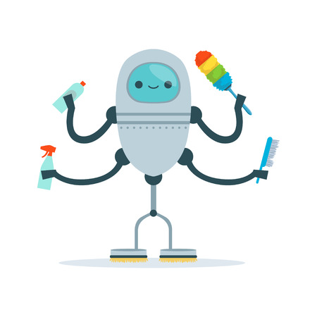 Multi armed housemaid android character cleaner vector Illustration Illustration
