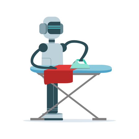 Housemaid android character ironing clothes vector Illustration