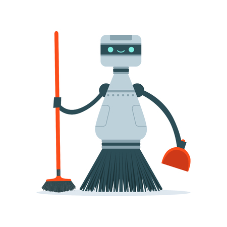 Housemaid cleaning robot character vector Illustration i