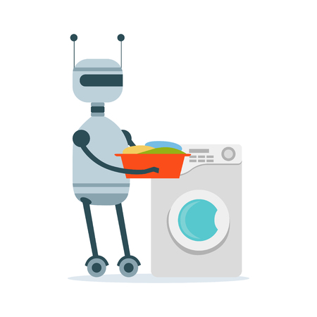 Housemaid android character washing clothes in the washing machine vector Illustration isolated on a white background Ilustração