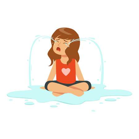 Weeping girl character sitting on the floor in a puddle of tears vector Illustration Illustration