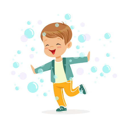 Cute happy little boy playing bubbles vector Illustration