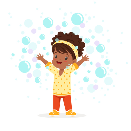 Cute happy little girl playing bubbles vector Illustration