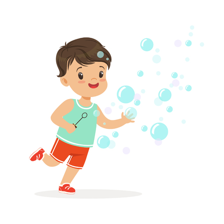 Adorable little boy blowing bubbles vector Illustration Illustration