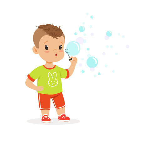 Cute little boy playing with bubble blower vector Illustration Illustration