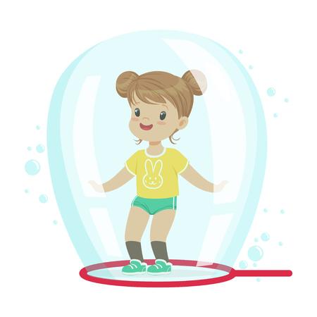 Linda niña de pie dentro de la burbuja de jabón ilustración vectorial Foto de archivo - 82356534
