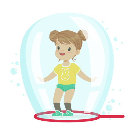 Cute little girl standing inside soap bubble vector Illustration Illustration