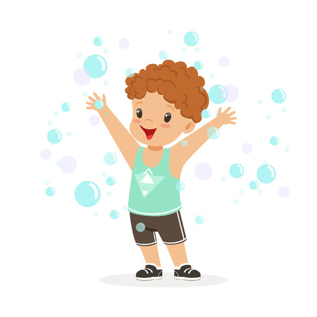 Happy redhead boy playing bubbles vector Illustration