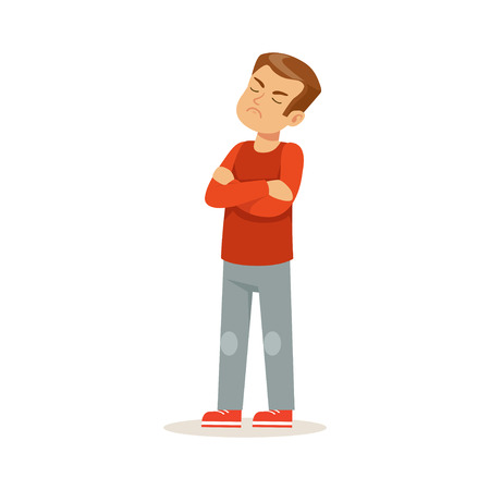 arms folded: Offended boy character standing with folded arms vector Illustration Illustration