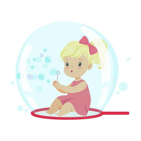 비누 거품 안에 앉아있는 동안 거품을 불고 사랑스러운 작은 소녀 벡터 일러스트