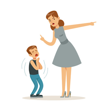 Mother character scolding her frightened son vector Illustration