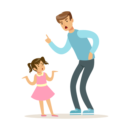 Father character scolding his daughter vector Illustration