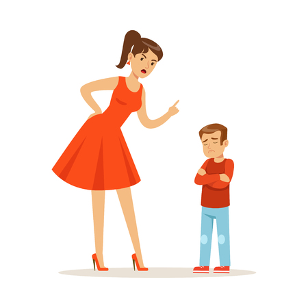 Mother character scolding her upset son vector Illustration Stock Illustratie