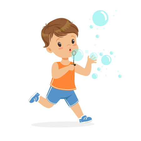 Cute little boy blowing bubbles vector Illustration