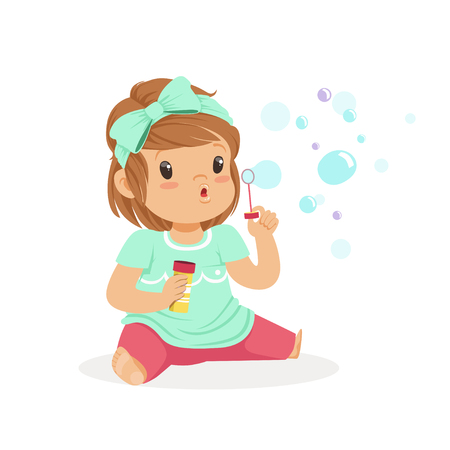 baby playing toy: Adorable little girl sitting blowing bubbles vector Illustration Illustration