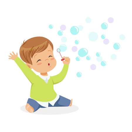 Cute little boy sitting on the floor and playing bubbles vector Illustration
