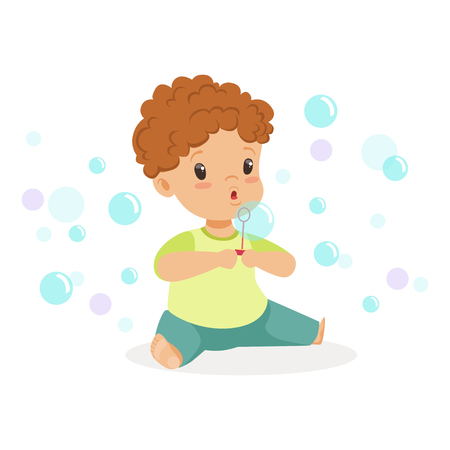 baby playing toy: Adorable little boy sitting blowing bubbles vector Illustration