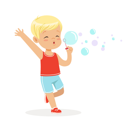 baby playing toy: Cute little blonde boy blowing bubbles vector Illustration