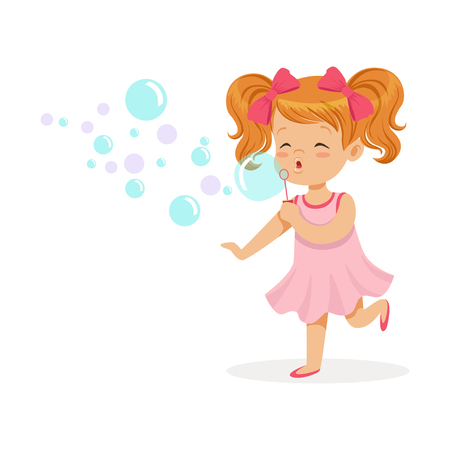 Happy redhead girl in pink dress blowing bubbles vector Illustration Çizim